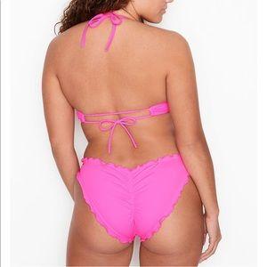 VS Swim Bikini Bottom Ruffle Cheeky Pink Scrunch S